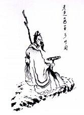 Linzhi -  lakownica lśniąca w dłoniach medytującego chińskiego mędrca.  Rycina wykonana przez Chen Hung-shou 1559-1652.