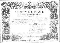 Tytuł własności na jeden hektar gruntu Nowej Francji