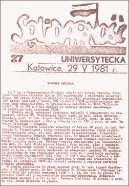 """Biuletyn NSZZ """"Solidarność"""", z informacją o wyborach rektorskich i mianowaniu na funkcję rektora prof. Augusta Chełkowskiego"""